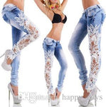 Hollow Out Hook Flower Close Bound Feet Pencil Wash Goods In Stock Female Bell Bottom Men Jeans For Women Woman Dresses