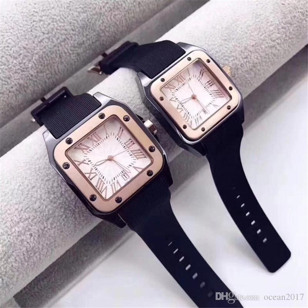HOT gentalmen mens watches fashion women lovers wristwatch rubber square dial Female Relogio Montre Femme Free Shippin