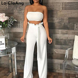 Sexy Two Piece Set Jumpsuit Autumn Sashes Loose Rompers Womens Jumpsuit Backless Casual Bodysuit Women