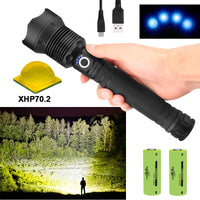 Most Powerful Led Flashlight 90,000 Lumens in the PLANET!!! Choose Small or Bigger Capacity Rechargeable battery compartment to make the working time longer