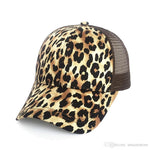 Leopard Print Summer Ponytail Baseball Cap Mesh Hats For Women Messy Bun Casual Hip Hop Snap back Gorras Hombre hat