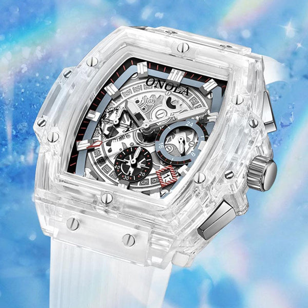 luxury mens wristwatches Transparent quartz waterproof Multifunction man watches square white fashion clocks