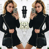 Women Sexy Black Bodycon Long Sleeve Casual Party Cocktail Evening Mini Dress