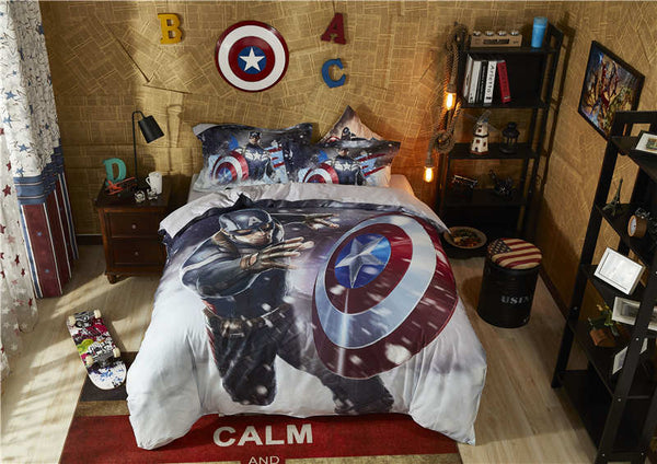 marvel captain america comforter cover sets boys cartoon home textile egyptian cotton bedding set queen size 3D disney bed linen