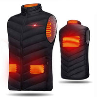 Men Outdoor USB Heating Electrical Vests Winter Sleeveless Heated Jacket Cold-Proof Heating Coat Security Intelligent Waistcoat