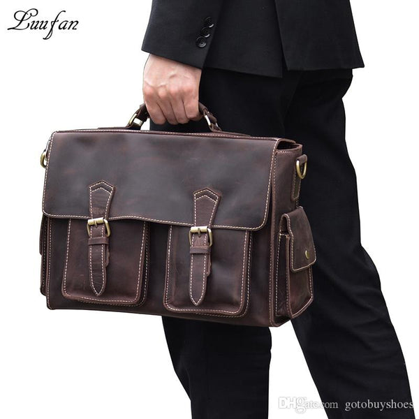 "Mens crazy horse leather business bag 15"" Real leather briefcase laptop messenger bag Cow shoulder Brown Work Tote #14985"