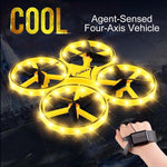 Mini Drone Smart Watch Remote Sensing Gesture Aircraft UFO Toys Somatosensory Noctilucent Interaction Uav