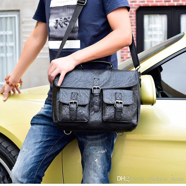 Multifunctional Men Shoulder Diagonal Bag Business Briefcase Pu Leather Mens Fashion 14 inch Bags #3043