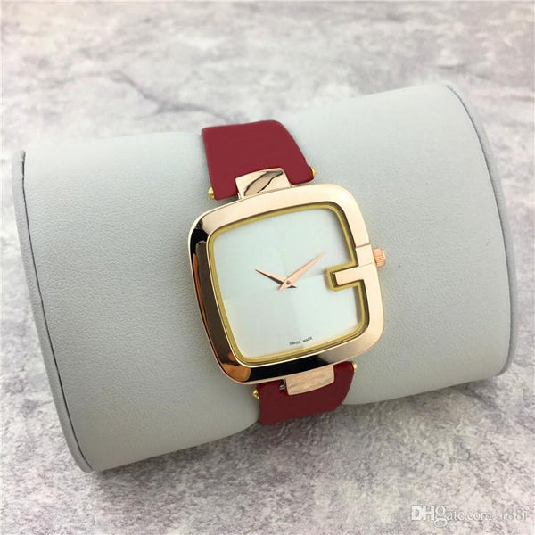 New Popular Casual Square Dial Face Women watch Black/Brown/Red Leather strap Wristwatch Lady watches Dress watch free shippin