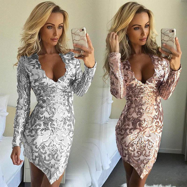 New summer sexy Fashion sequin dress party night club dress vestidos mujer long sleeve glitter Fashion