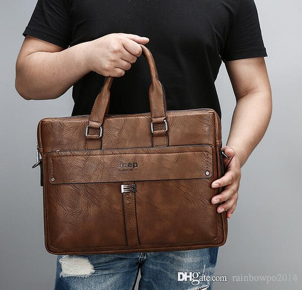 outlet brand men bag Korean version of high-quality leather mens business briefcase, simple large capacity cross section computer ba
