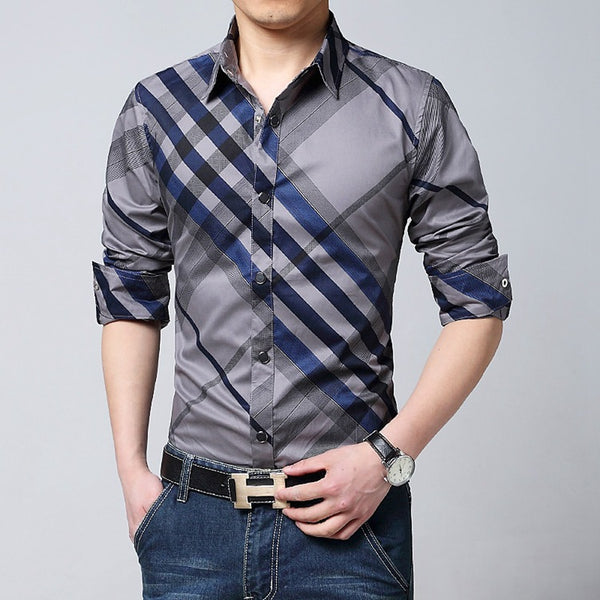 plus size 2016 New Spring Brand Mens Blue White Red Plaid Shirts Long Sleeve Casual checked Shirts Brushed M-5XL Men Dress shirt