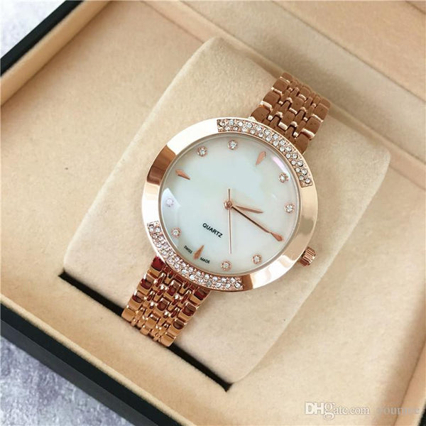Popular Women Watch Rose Gold Stainless steel Lady Wristwatch Quartz High Quality Designer watches girls gifts wholesale Relogio Masculin