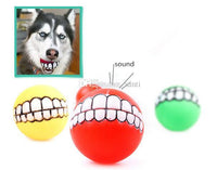 PET PUPPY DOG FUNNY BALL TEETH SILICON CHEW SOUND