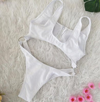 2019 Sexy Bikini Zipper Front Crop Top bikini Summer Swimming suit 4color S-XL
