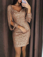 Fashion Sexy Women Sequin Tassels Bandage Bodycon Evening Party Club Sheath Mini Dress SunDress Black Silver Rose Red