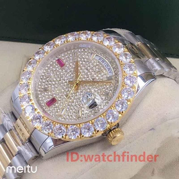 Rose Gold Day Date President Automatic 2813 Diamond Iced Out Luxury Business Mens Designer Watches