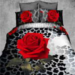 sexy leopard skin red rose flower 3d printed bedding set full queen size bedspread cover woven 400TC girl's bedroom decor 4-5pcs