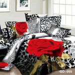 sexy red rose flower bedding sets full queen cal king size bedspreads girls bedroom decor Egyptian cotton woven 600TC leopard