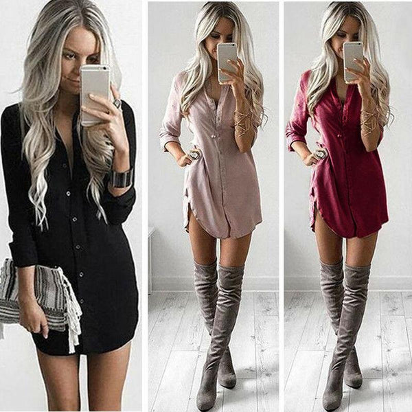 Summer Fashion Casual Newly Women Long Sleeve Turn-Down Collar Single Breasted Solid Shirt Slim High Waist Mini Dress 3 Colors