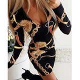 Summer Women Casual Dresses elegant ladies dress fashion dress chain print long-sleeved sexy tight women short Dresses