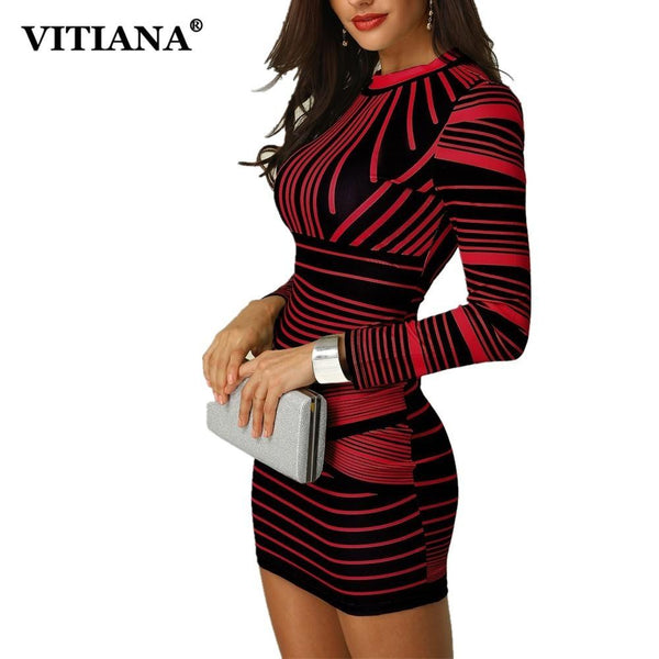 VITIANA Women Short Bodycon Party Dress Female 2018 Winter Long Sleeve Red Black Striped Print Elegant Pencil Club Casual Dress