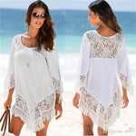 White Lace Cover Ups Swimwear For Women Summer Sexy Bikini Pareo Tassels Beachwear Dry Fast Polyester Fiber
