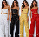 Designer women clothes strap two piece outfits pants sets full length lace hollow out sexy wide leg pant women jumpsuits