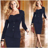 Elegant Dresses office fashion button full sleeve party women work dress pencil bodycon wear plus size