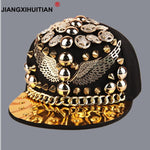 Spiked Rivet Handmade Snakeskin Leather Luxury brand snapback for women men white black novelty baseball cap hats