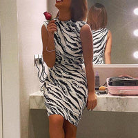 Women's Summer Dress Ladies Sexy Stripe Print Sleeveless Mini Dress Fashion Bodycon Dresses Elegant Women sexy dresses NEW