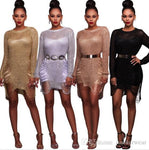 Women CrewNeck Hollow Out Mini Dress Beach Sexy Overall Cover-ups Dresses Seaside Holes Body Sheath Knitted Sweater Dresses