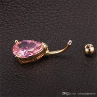 Women Fashion Body Piercing Belly Jewelry 18K Yellow Gold Plated Waterdrop Sexy Bikini Belly Button Rings for Hot Girls