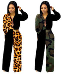 Women panelled Jumpsuits Rompers leopard camouflage sexy club jogger suit Cardigan bodysuit fall winter clothing long sleeve sportswear 1831