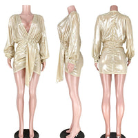 Women Sexy Party Dresses Above Knee Gilding Deep V Neck Long Sleeve Mini Dress for Evening Party