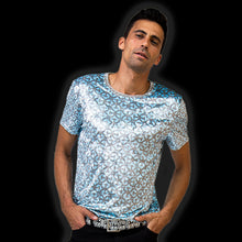 Load image into Gallery viewer, Larvotto Tantric-Blu Tee in Ultra-Fine Liquid Shimmer Stretch Fabric