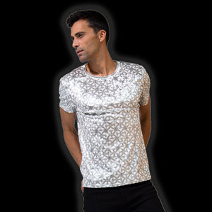 Larvotto Tantric-White Tee in Ultra-Fine Liquid Shimmer Stretch Fabric