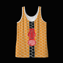 Load image into Gallery viewer, SPRUIKA orange-on-silver 'Check' Zipper Tank Top in Solange Silk Jersey fabric (ZIP Front Design)