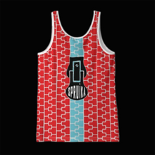 Load image into Gallery viewer, SPRUIKA red-on-silver fitted 'Zipper' Tank Top in Solange Silk Jersey fabric (ZIP Front Design)