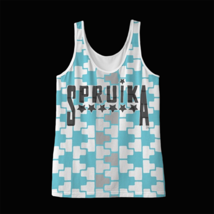 SPRUIKA aqua-on-white 'Check' Zipper Tank Top in Solange Silk Jersey fabric (ZIP Front Design)