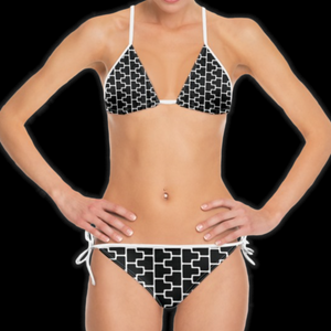 SPRUIKA black-on-white 'ZipTrak' Bikini