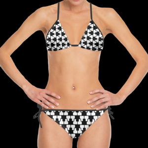 SPRUIKA black-on-white 'ZipTrak' check Bikini