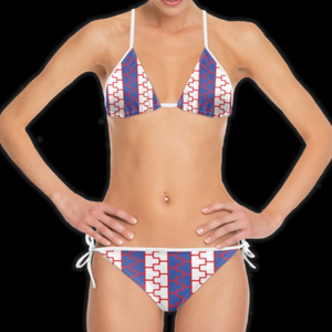 SPRUIKA blue, white, red 'Stripe' ZipTrak Bikini