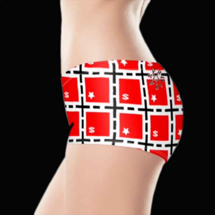 SPRUIKA red, white, black 'Currency' Lycra Hotpants
