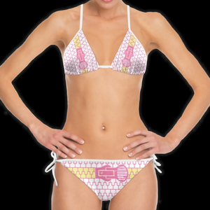 SPRUIKA pink-on-white 'Zipper' Bikini