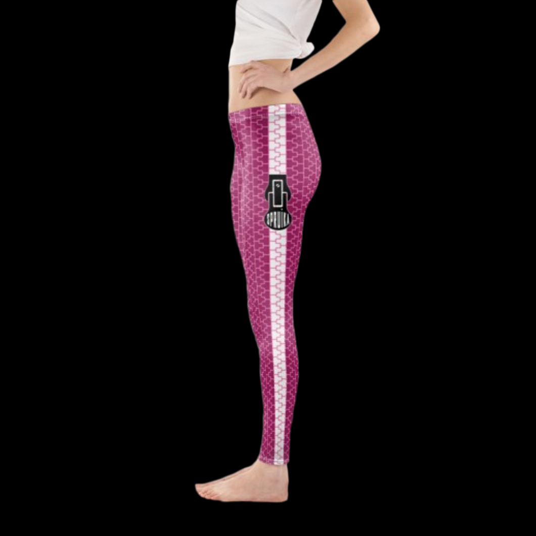 SPRUIKA magenta-on-pink 'Zipper' Lycra Leggings