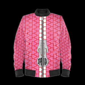 SPRUIKA WeatherProof pink-on-red Zipper Bomber Jacket (Femme-Cut).