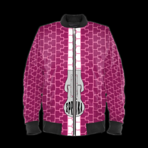 SPRUIKA WeatherProof magenta-on-pink Zipper Bomber Jacket (Femme-Cut).