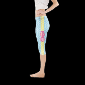 SPRUIKA HALF powder blue, yellow, pink 'Zipper' Lycra Leggings
