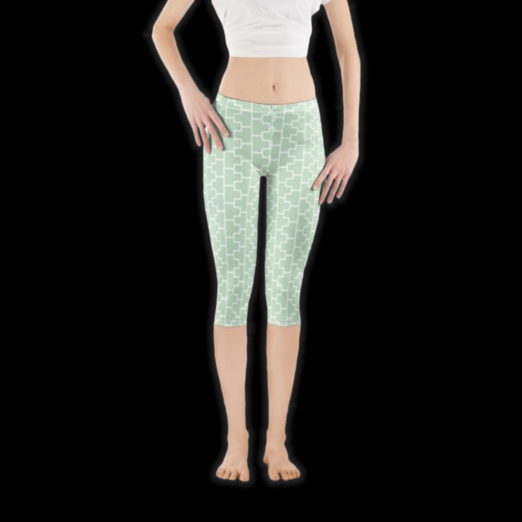 SPRUIKA HALF powder green-on-white 'ZipTrak' Lycra Leggings